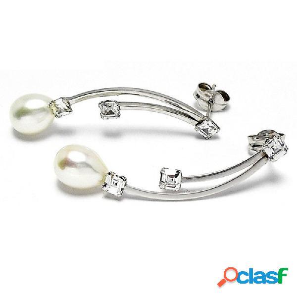 Pendientes oro blanco 18k largos perla cultivada circonita