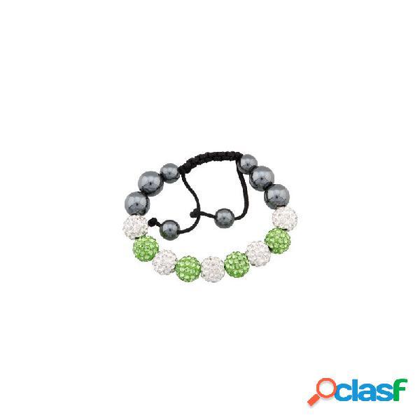 Pulsera Fantasy bola verde oliva y cristal