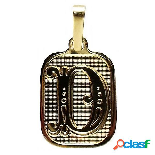 Colgante oro 18k letra d placa