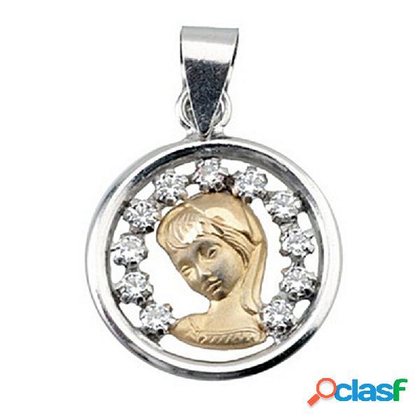 Colgante oro 18k y plata ley medalla virgen nina