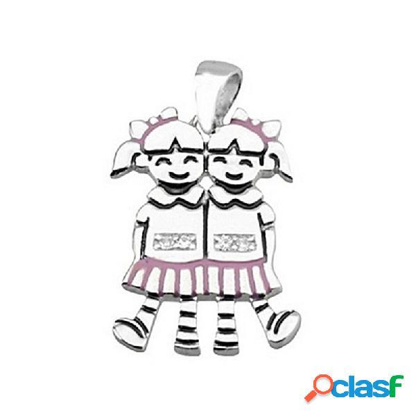 Colgante plata ley 925m 2 chicas falda rosa esmaltado
