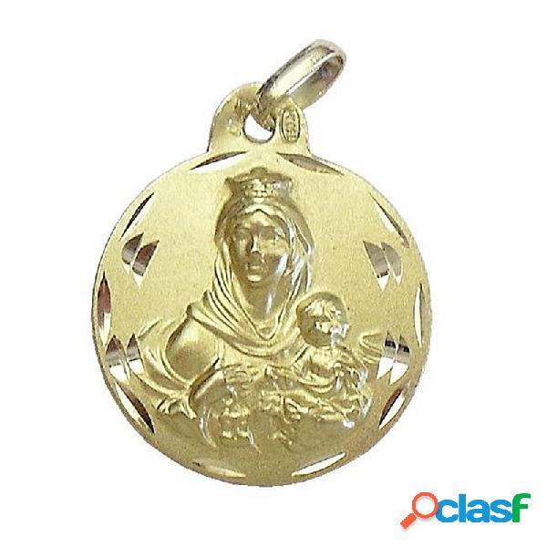 Medalla oro 18k escapulario virgen del carmen y corazon jesús