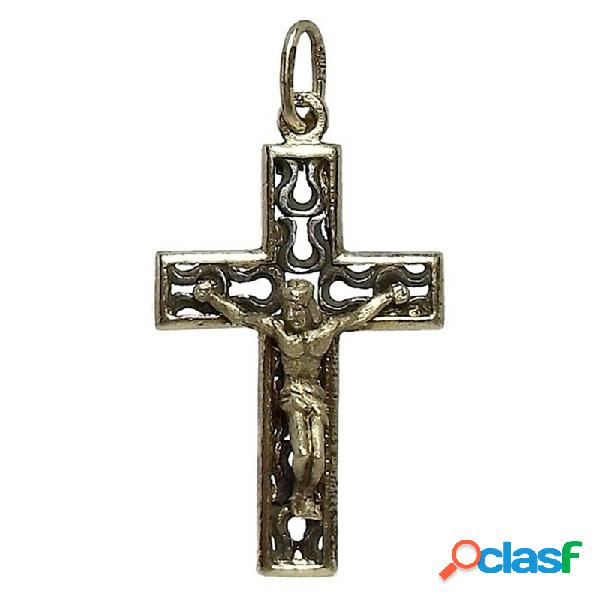 Cruz crucifijo con cristo plata ley 925m 925m chapada bicolor