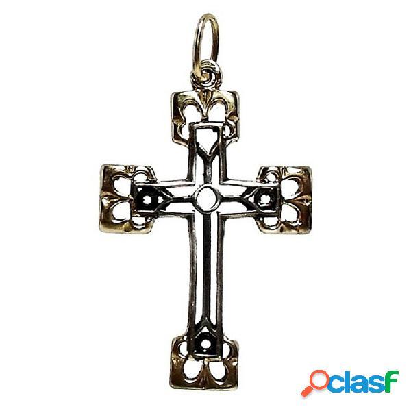 Cruz crucifijo plata ley 925m bicolor