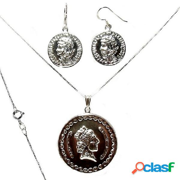 Juego plata ley 925m colgante cadena 40 cm. y pendientes moneda