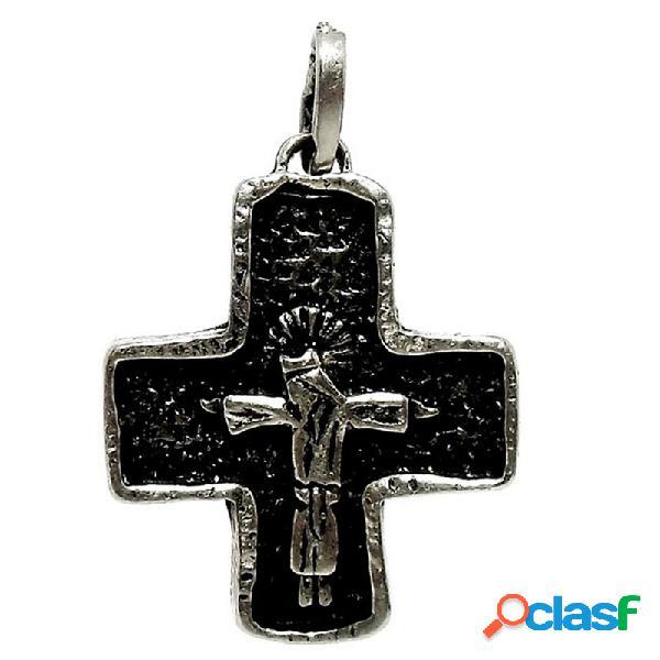 Cruz crucifijo plata ley 925m oxidada cristo