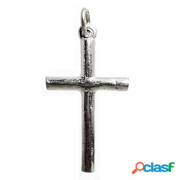 Cruz crucifijo plata ley 925m palo redondo macizo