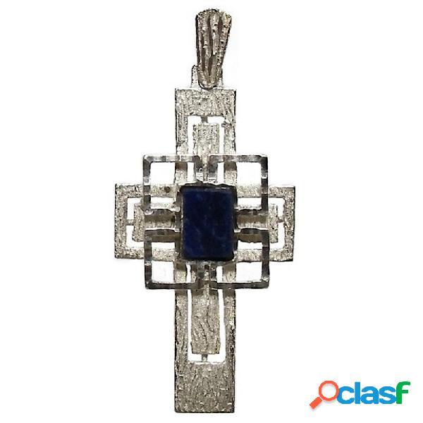 Cruz crucifijo plata ley 925m piedra azul