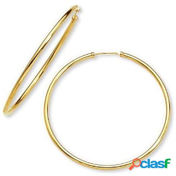Pendientes oro 18k aro tubular circular