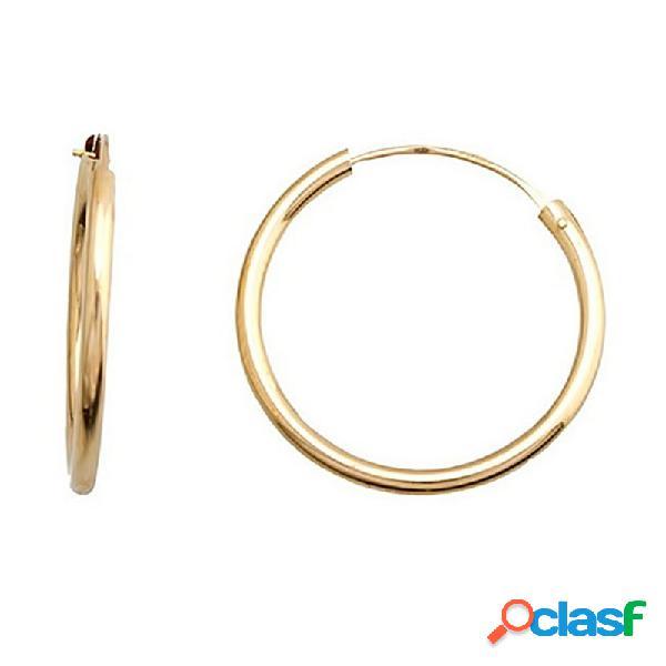Pendientes oro 18k aro tubular circular ligero cierre palillo