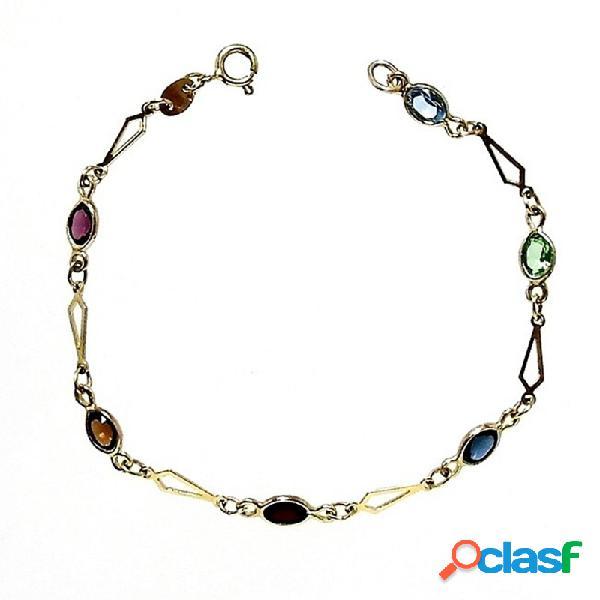 Pulsera plata ley 925m chapada 6 piedras colores