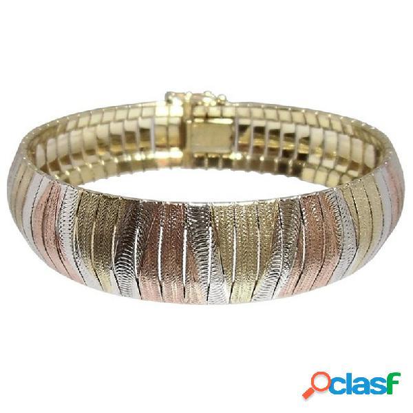 Pulsera plata ley 925m modelo italiano brazalete tricolor