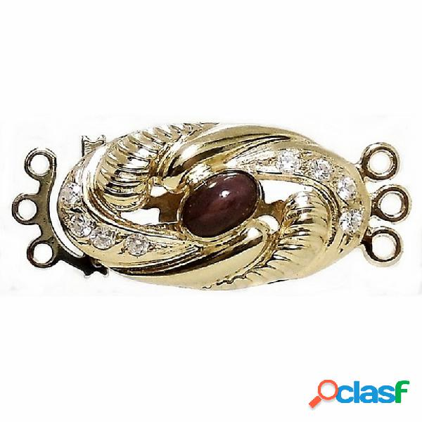 Broche cierre oro 18k para collar rubí circonitas