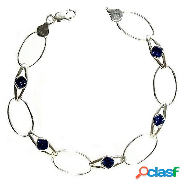 Pulsera plata ley 925m 5 piedras azules