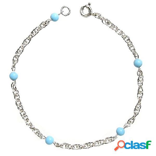 Pulsera plata ley 925m cadena cordón bolas color turquesas