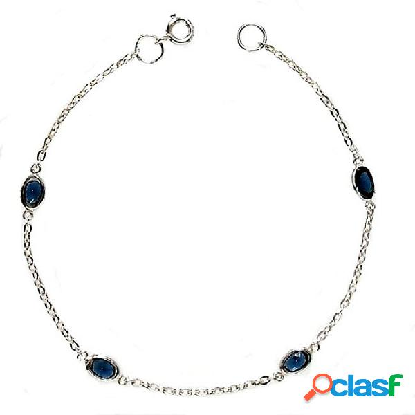 Pulsera plata ley 925m cadena forzada 4 piedras azules