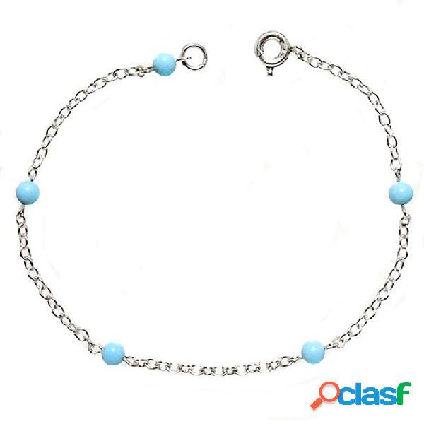 Pulsera plata ley 925m cadena forzada bolas color turquesas