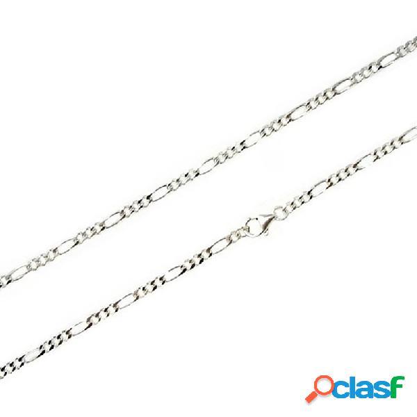 Cadena plata ley 925m 60cm. eslabón 3x1 ancho 2,90mm.
