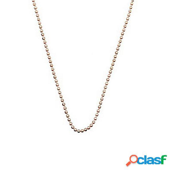 Cadena plata rosa 45 cm. bola diamantada 1,2mm.