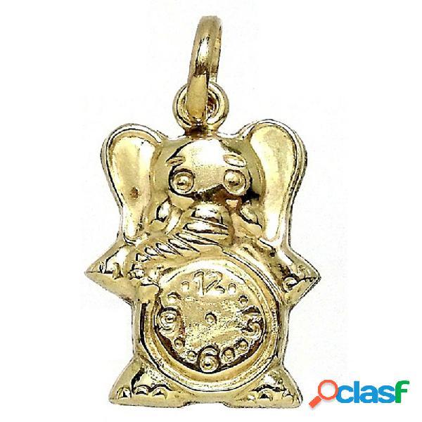 Colgante gold filled elefante con reloj liso detrás