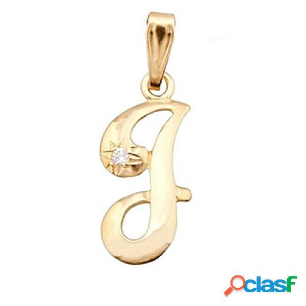 Colgante letra oro 18k inicial ''j'' alto 14mm. circonita