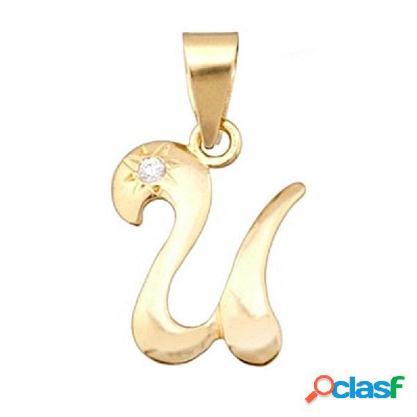 Colgante letra oro 18k inicial ''u'' alto 14mm. circonita