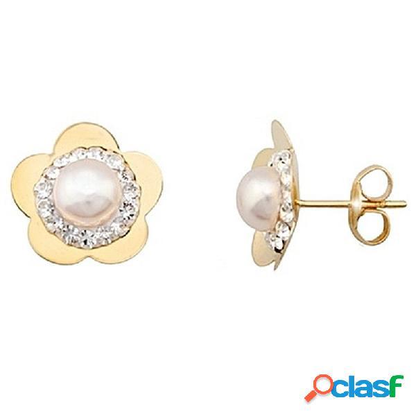 Pendientes oro 9k flor centro perla y cristal en resina