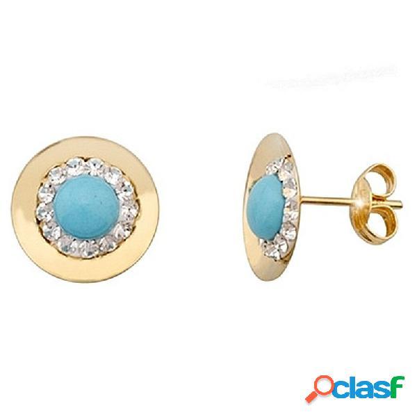 Pendientes oro 9k redondo centro turquesa y cristal en resina