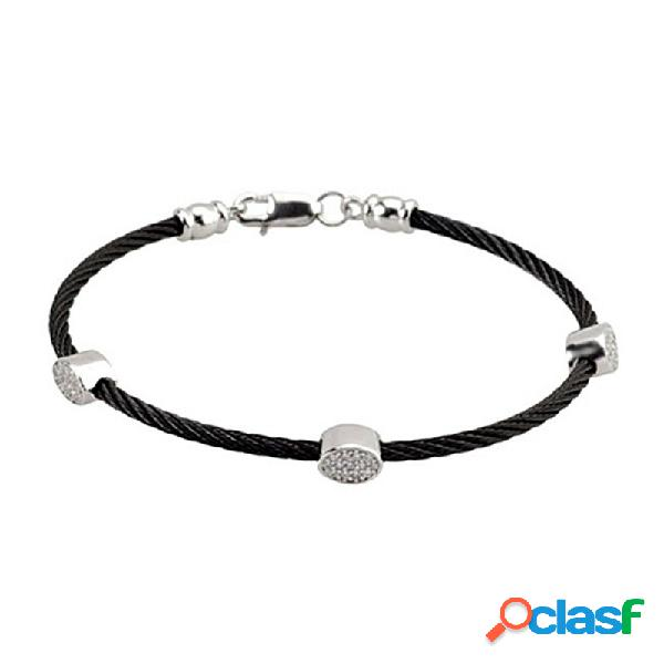 Pulsera acero-plata ley negra 3 piezas ovaladas circonitas