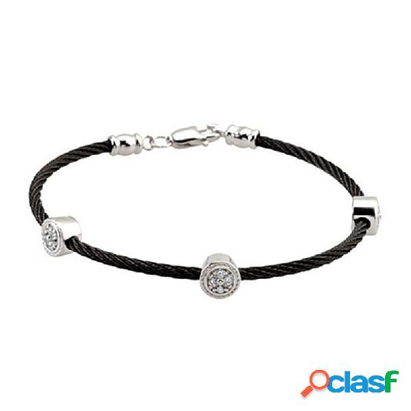 Pulsera acero-plata ley negra 3 piezas redondas circonitas