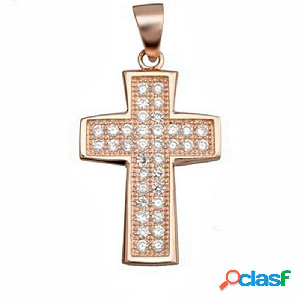 Cruz crucifijo plata ley 925m bano rosa circonita rectangular
