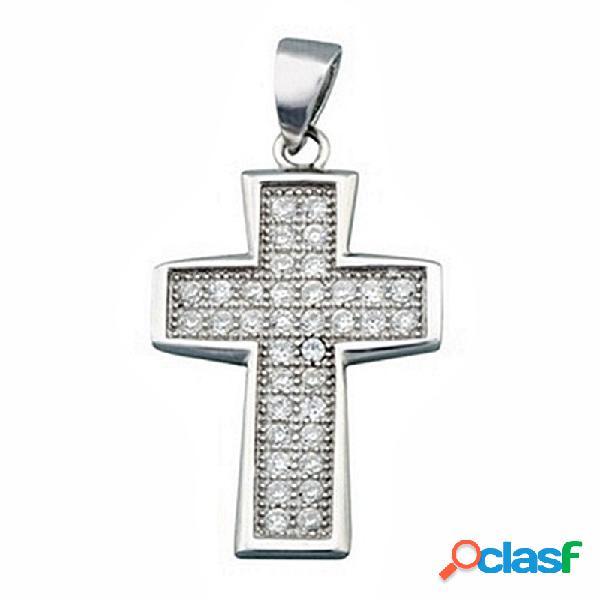 Cruz crucifijo plata ley 925m rodiada circonita rectangular