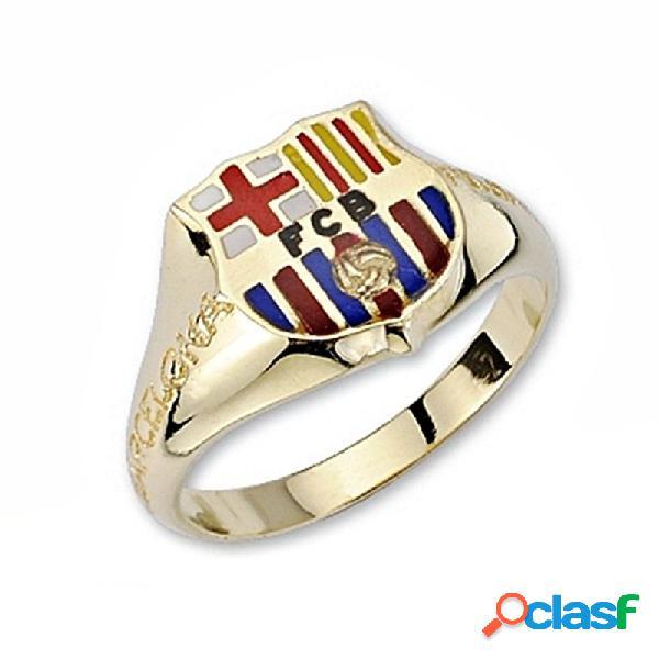 Sello escudo f.c. barcelona oro de ley 18k cadete silueta