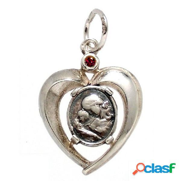 Colgante plata ley 925m. corazón medalla piedra roja