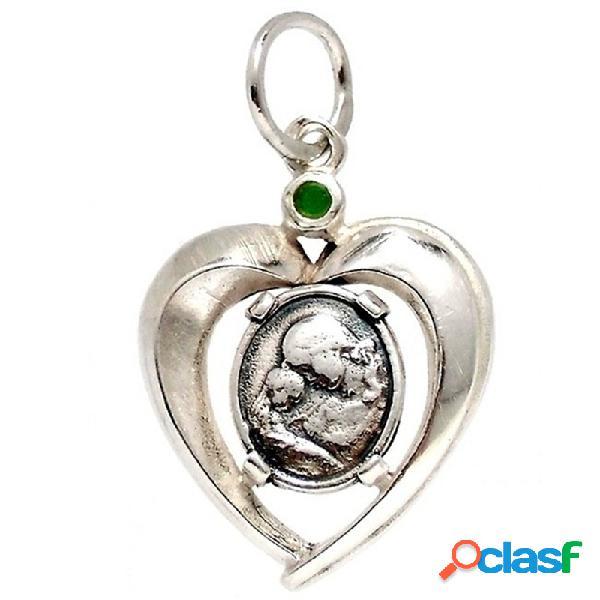 Colgante plata ley 925m. corazón medalla piedra verde