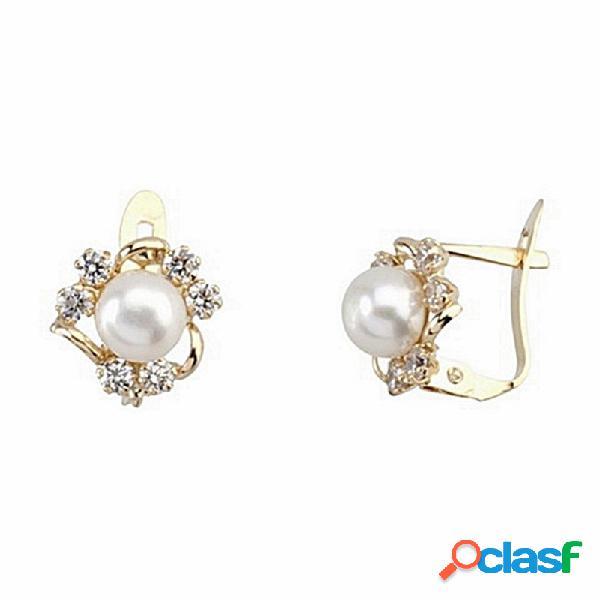 Pendientes oro 18k perla cultivada 3 bandas 6 circonitas