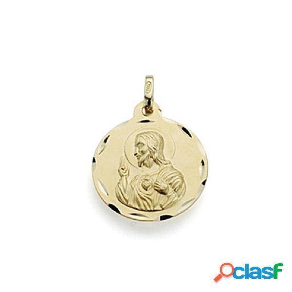 Medalla oro 18k escapulario 18mm virgen carmen corazón jesús