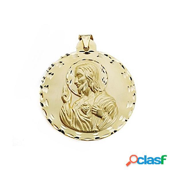 Medalla oro 18k escapulario 42mm virgen carmen corazón jesús