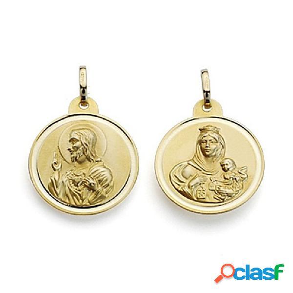 Medalla oro 9k escapulario 20 virgen carmen corazón jesús