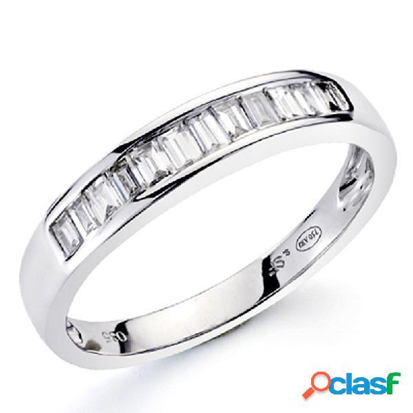 Alianza sortija oro blanco 18k 14 diamantes brillantes 0,35ct