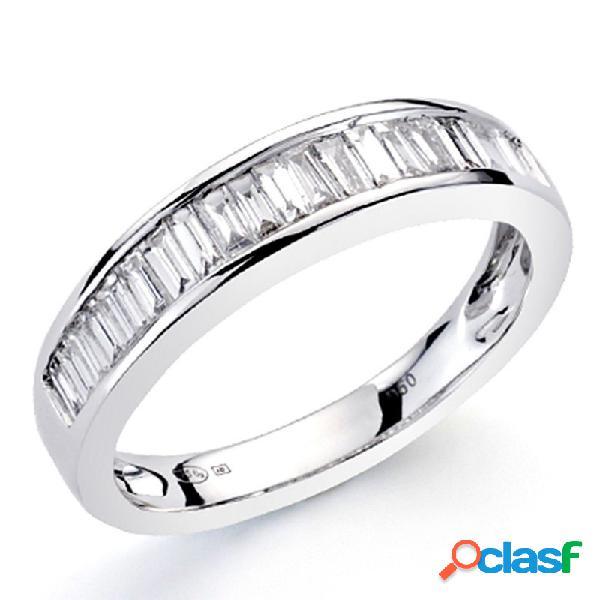 Alianza sortija oro blanco 18k 14 diamantes carré 0,5ct