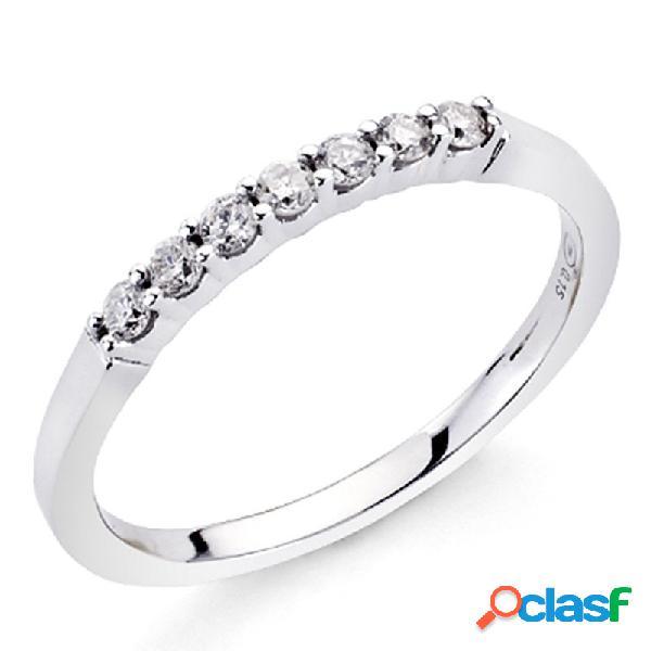 Alianza sortija oro blanco 18k 7 diamantes brillantes 0,16ct