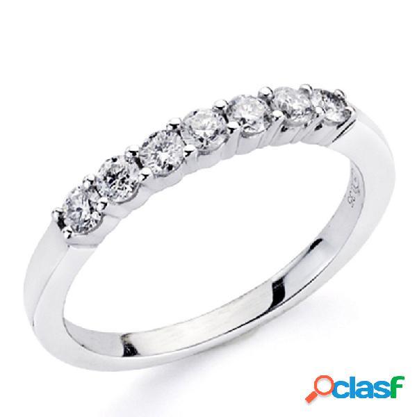 Alianza sortija oro blanco 18k 7 diamantes brillantes 0,35ct