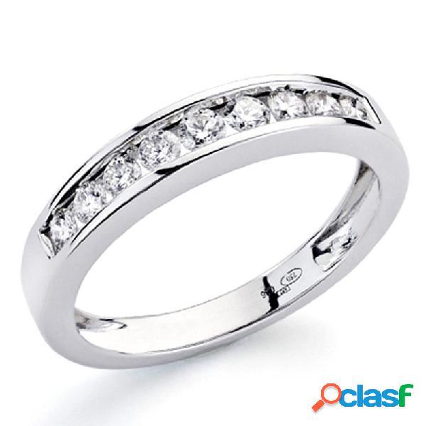 Alianza sortija oro blanco 18k 9 diamantes brillantes 0,36ct