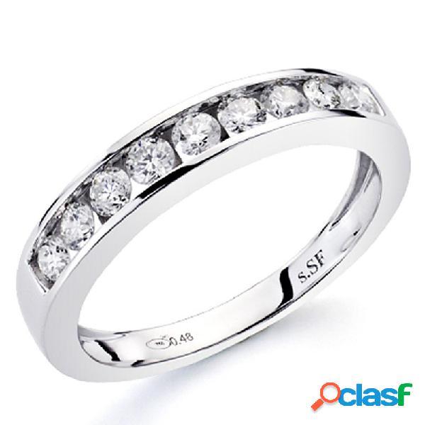 Alianza sortija oro blanco 18k 9 diamantes brillantes 0,5ct