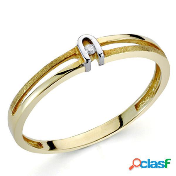 Sortija oro bicolor 18k 1 diamante brillante 0,0125ct