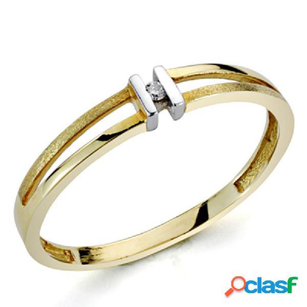 Sortija oro bicolor 18k 1 diamante brillante 0,0136ct