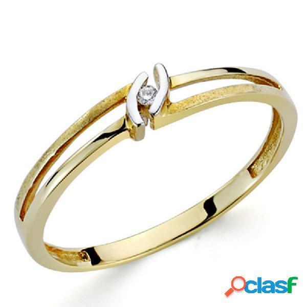 Sortija oro bicolor 18k 1 diamante brillante 0,014ct