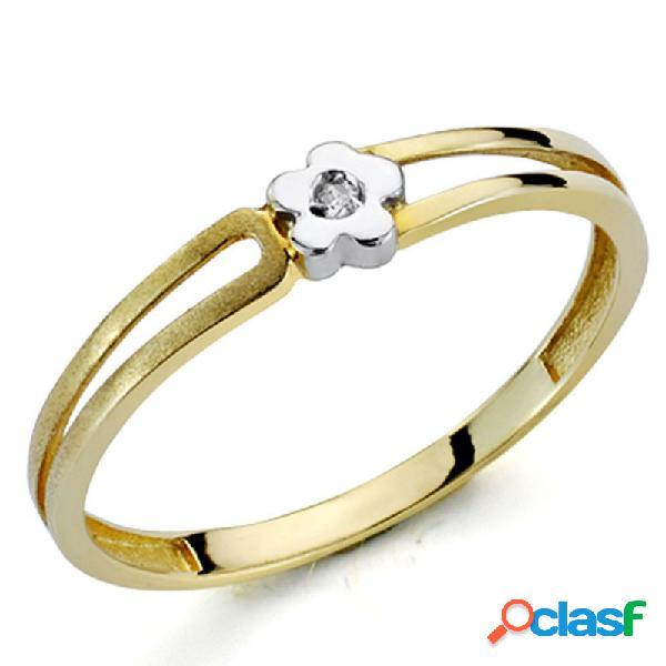 Sortija oro bicolor 18k 1 diamante brillante 0,01ct