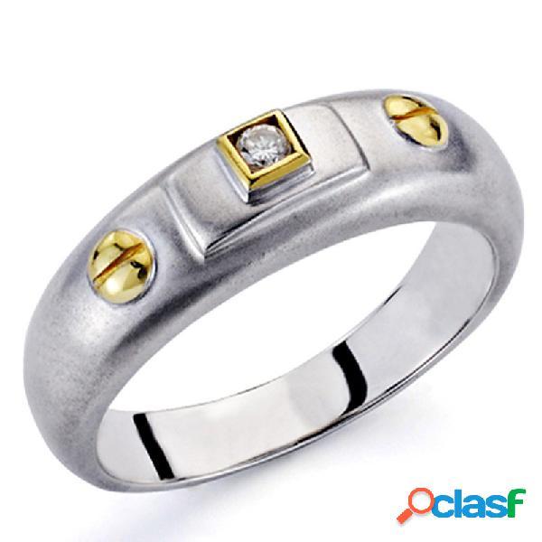 Sortija oro bicolor 18k 1 diamante brillante 0,03ct